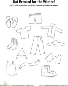 Worksheets: Winter Clothes Coloring Page