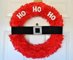 felt or fabric santa wreath - styro wreath form instructions