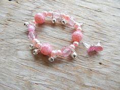 HUGE SALE Jingle Bell Charm Bracelet- Pink Jingle Bell Charm Bracelet And Earrings
