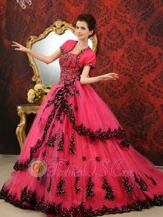 Coral Red Ball Gown Strapless Court Train Tulle Customize 2013 Quinceanera Dress  http://www.fashionos.com   taffeta and organza quinceanera dress | quinceanera dress with fitted waist | quinceanera dress ruffles | quinceanera dress with black details | coral red quinceanera dress | customer made quinceanera dress | quinceanera dress with court train | quinceanera dress in coral red |
