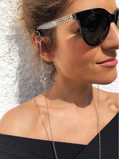 Sunglasses Chain :: Silver Sunglasses Chain with Stars - Christina Christi Handmade Products chain Sunglasses Chain :: Silver Sunglasses Chain with Stars Round Lens Sunglasses, Flat Top Sunglasses, Cute Sunglasses, Sunglasses Women, Sunglasses Holder, Vintage Sunglasses, Fashion Eye Glasses, Star Wars, Handmade Products