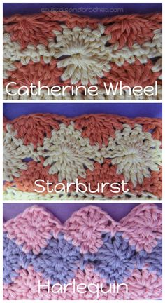 Here's a tutorial on three similar but distinct #crochet stitches. Catherine Wheel, Harlequin, and Starburst. Though they do look very similar they are in fact three quite different stitches.