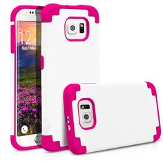 Galaxy S6 Edge Case, MagicMobile® Hybrid Ultra Protective Slim Armor Defender Case For Samsung Galaxy S6 Edge Shockproof Skin Hard Dual Cover High Impact Case for Galaxy S6 Edge(2015) White - Hot Pink