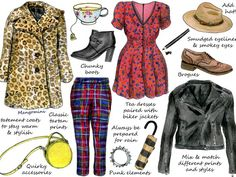 A few weeks ago I did a column about French girl's style. This week it's all about British style. Brit girls love to have fun with fashion! They like to mix and match different prints and styles to create an individual look. Also, dressing for the British weather means statements coats, layering and always be prepared for some rain. This week's illustrated how-to shows you some of the key pieces to get the look. See you next week!