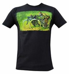 Board Track Racers by David Lozeau Men's Black Shirt Tattoo Tee Skeleton Biker Tattoo T Shirts, Tee Shirts, Dress Shirts, Steady Clothing, Men's Clothing, Mens Black Shirt, Burning Man Outfits, Inked Shop, Mens Attire