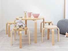 Hudson Kids Table and Stools - a kid's furniture set with a simple design with solid construction. Ideal size for toddlers and preschoolers. Stackable stools.