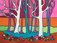 Woodland Sunset by Jenny Harris - Win vouchers worth from Winsor & Newton in our Calendar Challenge - February 2020 Woodland, Competition, February, Palette, Challenges, Watercolor, Colour, Sunset, Color