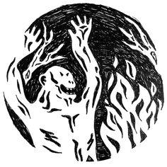 fire up the night fighting against the night Creepy, Moose Art, Fire, Night, Animals, Animais, Animales, Animaux, Animal