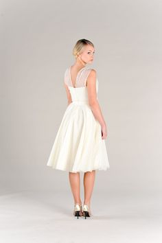 Black Friday Cyber Monday Short Wedding Dress Polka Dots Vintage 50s Era Eco Friendly Sweetheart Neckline Full Circle Skirt. $800.00, via Etsy.