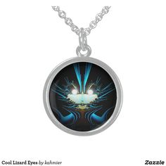 Cool Lizard Eyes Silver Plated Necklace