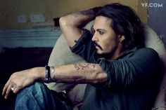 Johnny Depp, photographed by Annie Leibovitz. Styled by Jessica Diehl. **Related Story: **The Crowded Mind of Johnny Depp Annie Leibovitz, Johnny Depp, Here's Johnny, 27 Tattoo, Sick Tattoo, Tattoo Quotes, Tattoo Pics, Tattoo Memes, Tattoo Ideas