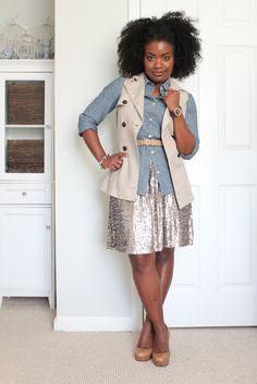 6b9a8649444 Chambray and sequin skirt. The Serena Saga  June 2012
