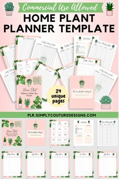 Create Home Plant Planner and Plant Care Tracker in PowerPoint and sell in your Etsy shop Journal Template, Planner Template, Printable Planner, Printables, Planner Ideas, Planner Pages, Planner Organization, Vinyl Crafts, Monthly Planner
