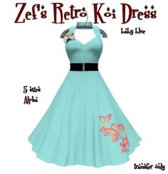 Second Life Marketplace - Zef's Rockabilly 50s Mesh Retro Baby Blue Koi Dress