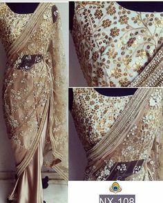 New Beige Net & Satin Chiffon Georgette Designer Saree Designer Sarees Collection, Saree Collection, Fancy Sarees, Party Wear Sarees, Indian Attire, Indian Wear, Indian Dresses, Indian Outfits, Chiffon