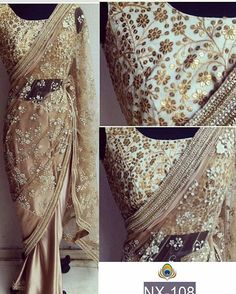 Beige net Saree with heavy embroidery blouse To purchase this product mail us at…