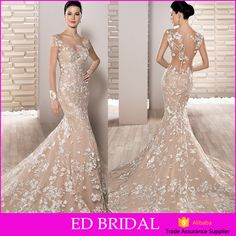 Check out this product on Alibaba.com App:2017 Latest Design Exquisite Ivory Lace Appliqued Champagne Lining Mermaid Long Sleeve Wedding Dress https://m.alibaba.com/A3eUJf