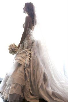 J'Aton wedding dress, layers of detail.