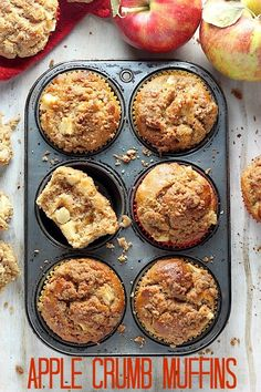 The Best Apple Crumb Muffins EVER! Soft, fluffy, and packed with tender apples! We love these and they freeze great.