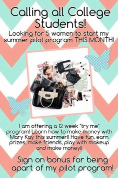 Looking for 5 women to start my Summer Pilot Program!!! Sign on bonuses for everyone who decides to take part!! What a GREAT way to earn some MONEY over the summer!!! www.marykay.com/jennasknight or call 2512333415