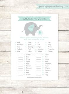 baby shower game printable elephant sage green grey matching game who's my mommy gender neutral shower digital games - INSTANT DOWNLOAD
