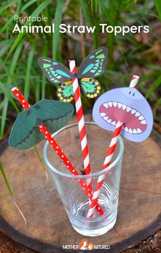 Free Printable Animal Straw Toppers for Kids - Mother Natured