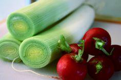 leeks and radishes