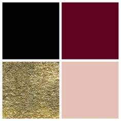 I created this: a theme color palette of black, bordeaux, gold & blush.