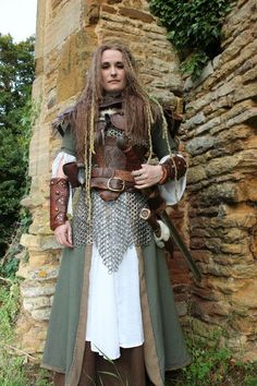 I know this is made to look more viking but the underlayers with the long chemise, open coat, and boots and pants is actual more middle eastern. Same with the front and back armor harness over chain maille.