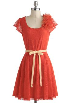 orange lace dress maid apparently bit short $75 Firework of Art Dress - Lace, Cap Sleeves, Orange, Flower, Belted, Daytime Party, A-line, Fairytale, Mid-length