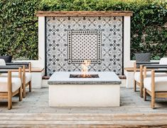 This remodeled Spanish revival house in California is full of exposed brick details, bold patterns and boho colorful accents. home design A Sacramento Spanish Revival Home's Stunning Refresh Spanish Revival Home, Outdoor Decor, Backyard Design, House Exterior, Patio Design, Outdoor Remodel, Outdoor Fireplace, Mediterranean Homes, Spanish Modern