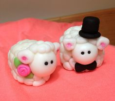 Fondant Sheep Bride & Groom Wedding Cake Topper