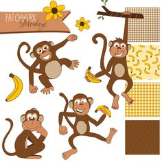 Cute, hand drawn monkey clip art decorated with floral and plaid patterns in yellow and brown. Matching digital papers and embellishments