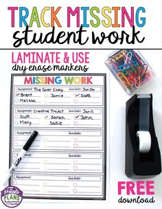 Keep track of missing student work by using this free classroom management form.  Simply laminate the form, attach it to your desk, and use a dry erase marker to write which students need to submit work. When the assignment comes in, check off their name or erase it completely!