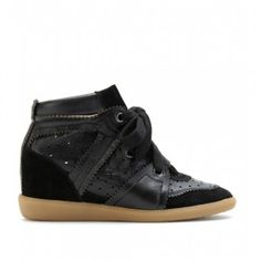 Isabel Marant Betty Leather and Suede Sneakers Black