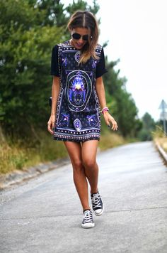 Candem Market printed dress with Converse Chuck Taylor low-tops