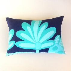 Navy Palm Leaf Cushion Cover. Navy and Aqua Marimekko Cushion.
