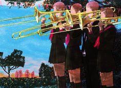 #illustration # illustrator #tatsurokiuchi #art #drawing #life #lifestyle #happy #japan #people #girl #木内達朗 #イラスト #イラストレーション #trombone #music #autumn #festival #blue #sky