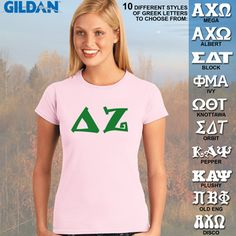 Delta Zeta Ladies' SoftStyle Printed Tee #Greek #Sorority #Clothing #DZ #DeltaZeta