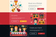 Music Flat Design Banners Set by Decorwith.me Shop on Creative Market