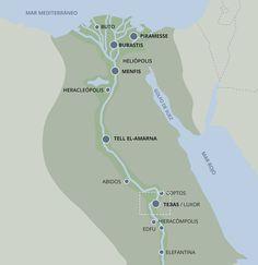 Ubicación de Tebas dentro del antiguo Egipto