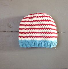 Would be cute for Dr Seuss!    Knit Baby Boy Hat, cotton, sky blue, red and cream stripes, Little Man Little Beanie by sweet baby dolly on Etsy. $14.00, via Etsy.