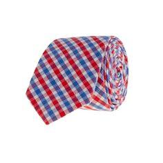 Kittery-check tie in bold poppy    $59.50