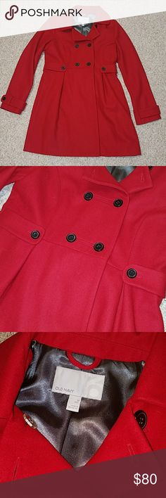 Nwot jacket Nwot old navy jacket, size medium tall, red with black button accents, A-line fit to create a lovely shape while wearing a jacket!  Offers welcome Old Navy Jackets & Coats Pea Coats