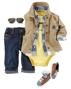 A classic bodysuit and button-front are complete with durable denim. A  utility jacket cc2e9253fd8