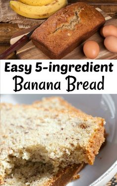 This Easy Banana Bread recipe is one of the quickest banana bread recipes ever. It is moist and delicious and comes together with very few ingredients. Quick Banana Bread, Moist Pumpkin Bread, Pumpkin Chocolate Chip Bread, Quick Bread Recipes, Banana Bread Recipes, Mexican Food Recipes, Dessert Recipes, Easy 5, Martini