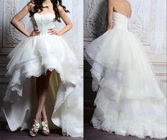 New Arrival High Low White Ivory Wedding Dresses Custom Size 2015 Sweetheart Strapless Bridal Gowns Handwork vestido de noiva
