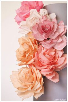 Coffee filter paper flower decorated cake inspired by Martha Stewart