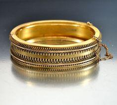 Antique Etruscan Gold Fill Victorian Bracelet Bangle  Vintage Jewelry