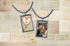 "Custom Photo Necklace pendant ""I Love You"""